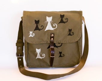 Vintage Upcycled Hand Painted Military Bag Green Cotton Canvas Messenger Bag with Black and White Cats