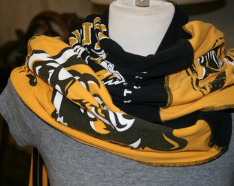 T Shirt Scarf Necklace University of Missouri Tigers MIzzou Yellow Black