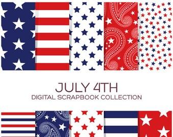 4th of July Digital Paper Patriotic Digital Paper Patriotic Paper Fourth of July Printables Independence Day Memorial Day Printable - C00021