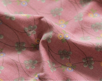 Cotton Corduroy Fine Wale Flowers and Vine - Light Red Bean - By the Yard 70637