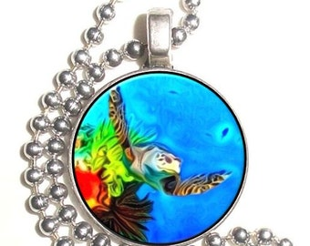 Marine Turtle at Reef Art Photo Silver Pendant, Undersea Resin Picture Nickel Coin Charm, Ball Chain Necklace