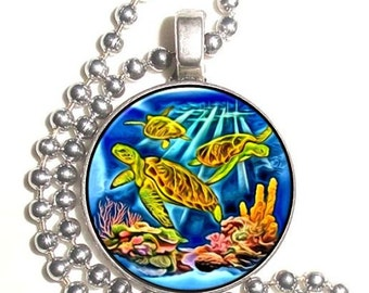 Marine Turtles at Reef Art Photo Silver Pendant, Undersea Resin Picture Nickel Coin Charm, Ball Chain Necklace