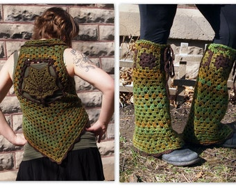 Leafy crochet vest and leg flares, green festival/ faerie outfit