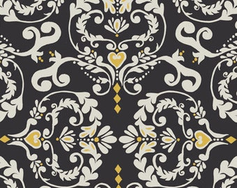 SALE--Novella Home Dec Sateen--VALORI WELLS--Heart de Fleur--Charcoal--price is per yard