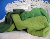 lot of green wool scraps crafting blanket cutter quilt remnants repurposed upcycled