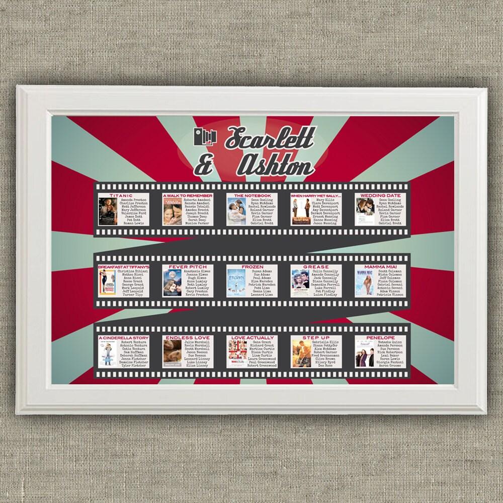 Cinema and movie theme wedding seating chart printable file for Table theme cinema