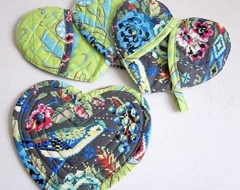 OOAK Gift- Quilted Pot Holder Set- Heart Pot Holder- Unique Valentine Gift- Boho Kitchen Decor- Trivet Set- Potholder Set- Boho Home Decor