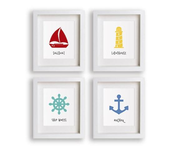 Sophisticated Modern Nautical Nursery: Nautical Nursery Art Set Anchor Sailboat By NikoAndLily On