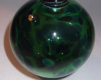 Vintage nightorb, spirtit,  garden, hand blown glass bulb, beautiful ready to hang heavy green and blue