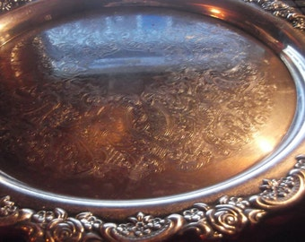 Vintage Oneida large heavy 12 inch silver plate serving tray flower pattern