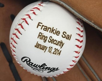 Ring Bearer Gift Personalized Baseball Custom Wedding Engraved For