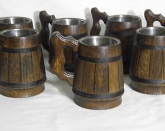 7 Personalized groomsman gifts, Wooden Beer mug, 0,33 l,Personalized wedding gift,groomsmen gift,father gift, castom engraving, rustic,  n23