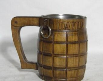 Wooden Beer mug (hand-grenade) , 0,8 l (27oz) ,Custom engraving, natural wood, stainless steel inside,groomsmen gift, n13