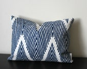 Decorative Throw Pillow, 12x16,12 x18 Lumbar Pillow, Indigo Blue Ikat Chevron Pillow Cover,Toss Pillow, Accent Pillow, Sofa Pillow