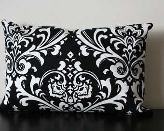 Decorative Throw Pillow, Black and White Lumbar Pillow,12x16,12 x18, Black and White Pillow Cover,Toss Pillow, Accent Pillow, Sofa Pillow