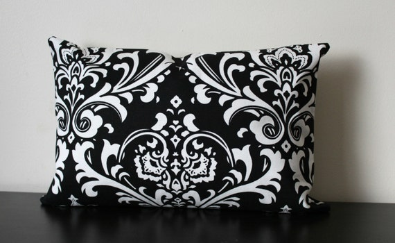 decorative throw pillow black and white lumbar. Black Bedroom Furniture Sets. Home Design Ideas