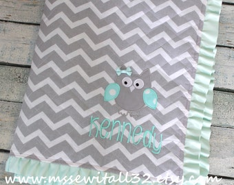Personalized Quilted Baby Blanket with Ruffled Satin Trim - Design Your Own Blanket - Chevron Quilted Baby Blanket - Crib Bedding