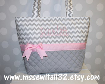 XL Gray Chevron (You Pick the Accent Color) Quilted Purse / Tote / Diaper Bag