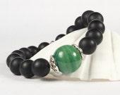 Gemstone Stretch Bracelet Onyx Gemstones Glass Focal Bead CarolMade S20