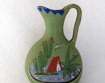 Mexican Folk Art Clay Vase - Pitcher - Jug - Cacti - Desert - Southwestern Cactus Vintage Home Decor