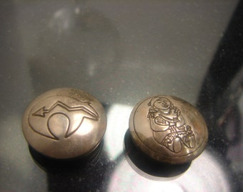 Sterling Silver Native American Button Covers - 2-20mm diameter ZUNI -Maiden & Bear  engraved 1188