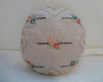 Vintage Embroidery Round Linen Pillow