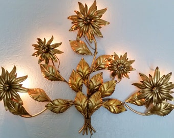 Extra Large Gold Gilded Floral Wall Sconce