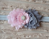 SALE! Pink and Grey Headband, Newborn Headband, Toddler-Adult Headband, Photo Prop, Shabby Chic Flower Headband, Bridesmaid Headband