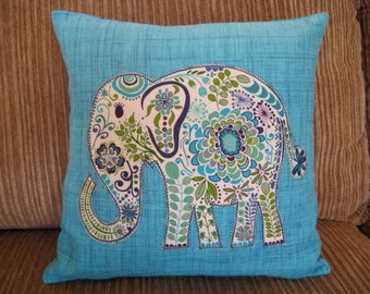 Elephant Turquoise Blue Pillow Cover Decor 14""
