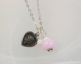 Heart Charm necklace with rose small, pale pink lampwork, crystals