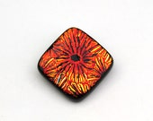 Reserved for Cheryl, Dichroic Glass Pendant Cabochon in Metallic Red and Gold with Sun Design