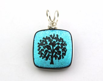 Teal Blue and Black Tree Dichroic Glass Pendant, Sterling Silver Wire Wrapped
