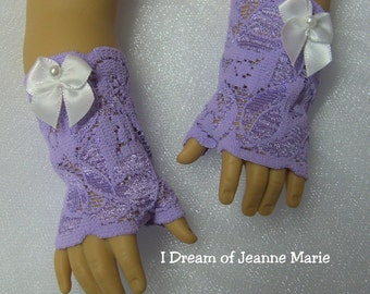 FINGERLESS LAVENDER GLOVES for American Girl Dolls  Steampunk Purple with white satin bows Caroline, Cecile Elizabeth Felicity