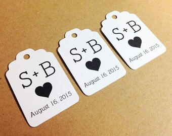 25 White Wedding Favor Tags -  Hang Tag, Gift Tag, Favor Tags, Bachelorette, Bridal Shower, Die Cuts -  2.25 X 1.5 inch