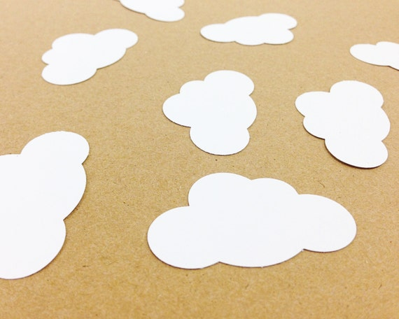 50 White Cloud Die Cuts Punches Cardstock 1-7/8 Inch-  Wedding, Birthday, Bridal Shower, Baby Shower, First Birthday