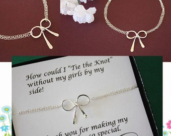 4 Bridesmaids Gifts, Tie the Knot, Bow Bridesmaid Bracelets, Silver Bow, Silver Knot Bracelet, Thank you card, Bow Bracelet, Charm Bracelet