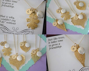 6 Bridesmaid Leaf Necklaces, Real Leaf Necklace, Monogram Necklace, Pearl, Initial Charm, Bridesmaid Gift, Thank You Card, Gold Necklace