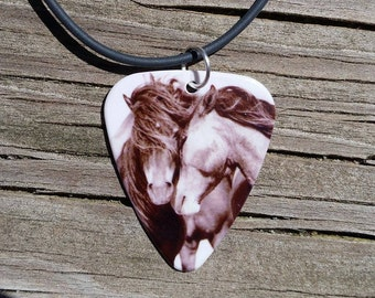 Horse Country Love guitar pick on black necklace jewelry his hers brown horse love field scene picture antique beautiful horses picture