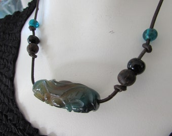 Vintage BOHO Necklace Jade /Leather/glass Beads