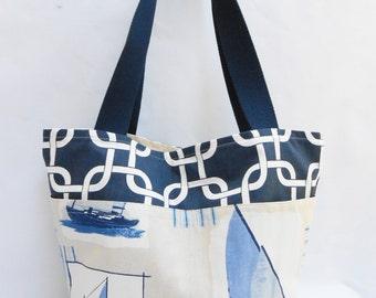 Navy Blue and White Shoulder Bag Tote Bag