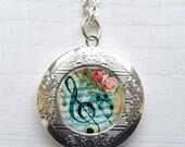 Locket, Photo Locket, Musical Note Collage Locket Necklace