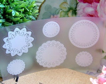 Doily Stickers, Label Stickers, Doilies, White Doily Stickers, Lace Stickers, Lace Doily Stickers, Round Lace Doily Stickers, Scrapbooking