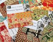 Kimono squares Origami Paper - 3 sheets of Beautiful Japanese Chiyogami Washi and 3 sheets of Katazome-shi origami paper