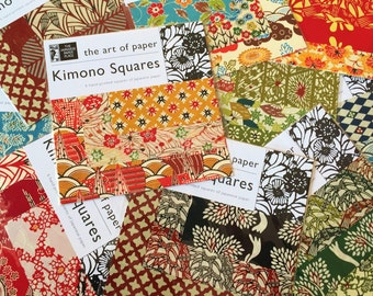 Kimono squares Origami Paper - 3 sheets of Beautiful Japanese Chiyogami Washi and 3 sheets of Katazome-shi origami paper