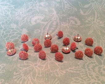 Glitter Thumb Tacks Coral Push Pins Set