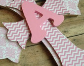 Girls Baptism Gift, First Communion Gift, Personalized Cross, Personalized Gift, Pink Chevron, Pink Damask