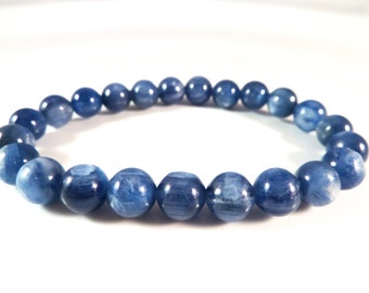 Blue Kyanite Stretch Bracelet 8mm Smooth Round High Vibration Quality Gemstone Bead