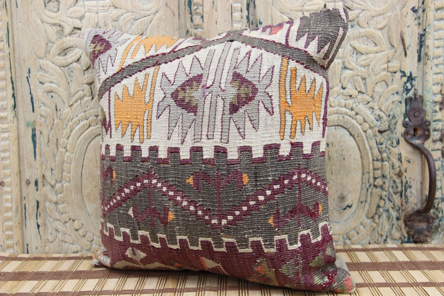 Pattern Kilim Pillow 16 X 16 Accent Pillow Chair By