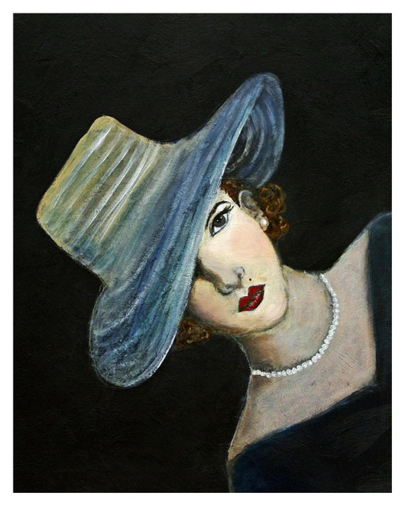 8 x 10 Original Print, Mystery, Josephine, woman in fashion, vintage, lady portrait, 1940s, Lady in a hat, Wall Decor, black, pearls,