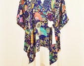 Fans and Flowers Pure Silk Crossover Wrap Dress Kaftan with Cream Silk Border and Ties by Molly Kaftans